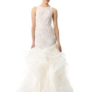 NWT Theia embroidered lace ruffle wedding gown 10